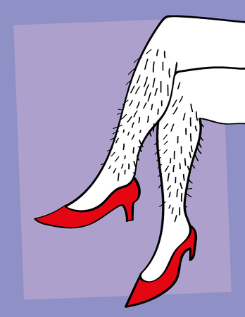 A pair of male or female hairy legs crossed and wearing red high heels Vectores