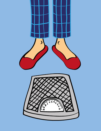 pyjama: Pair of male legs in pyjama pants and slippers standing in front of a set of bathroom weighing scales