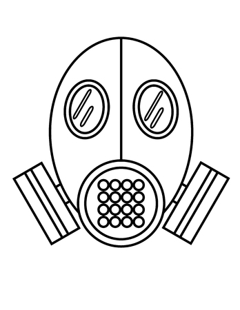 protection gear: Black on white flat outline vector of a gas mask or breathing apparatus