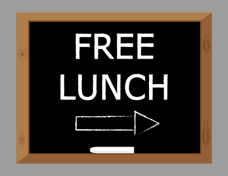 The words Free Lunch written in white text on a blackboard with an arrow pointing this way
