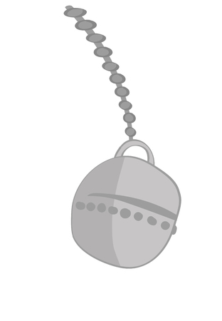 illustration of a wrecking ball on a chain swinging towards destruction on a white background for copy space