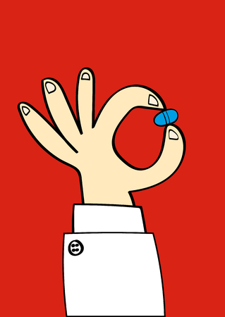 white coat: Hand in a white coat sleeve holding up a blue pill for you to take as medicine