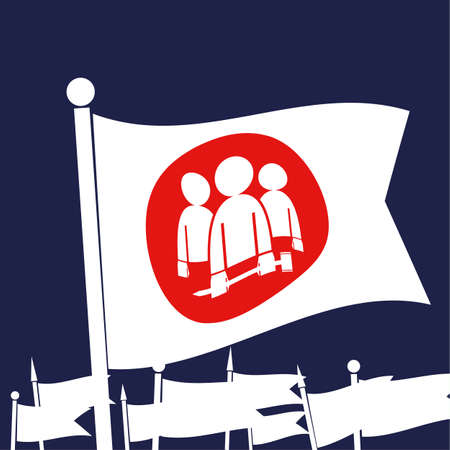 wave equality: White flag bearing a log for industrial workers or union members in front of other flags waving as a concept for workers rights