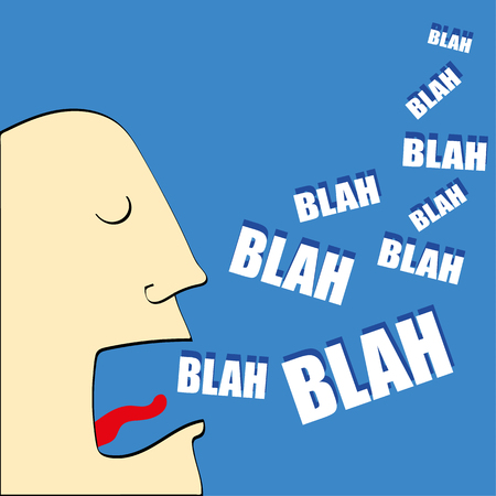 coming out: Caricature of mans head with his mouth open and the words Blah,Blah,Blah coming out in white text Illustration