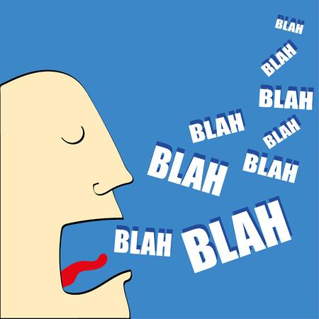 Karykatury głowy mężczyzny z otwartymi ustami i wyrazy bla, bla, bla wychodzi w białym tekstem