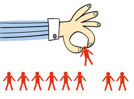 one people: Giant hand in a business shirt picking up one person from a row of identical people drawn as stick men Illustration