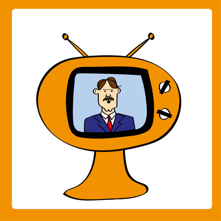providing: Retro style television set with a male news anchor providing updates and bulletins