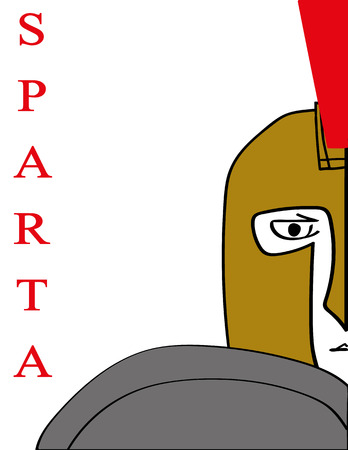 warlike: Simple illustration of the face,helmet and shield of a Spartan Warrior with the word Sparta added in red text