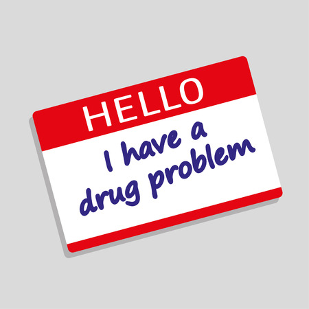 junkie: Hello My Name Is badge or visitor pass with the words I have a Drug Problem added in blue text