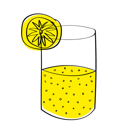 A glass half full or half empty of lemonade, depending on your point of view. With offset color for effect