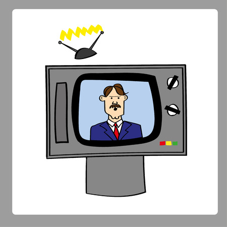 providing: Retro style analog television set with a male news anchor providing updates and bulletins Illustration