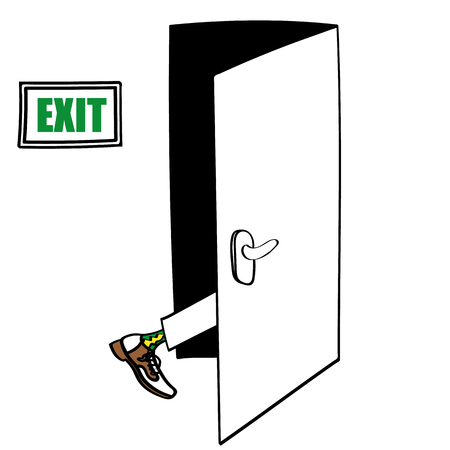 Exit door with the leg of a man in formal shoes seen entering and about to disappear as part of his Exit Strategy Illustration