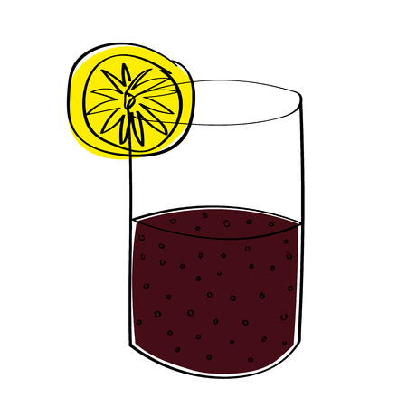 half full: A glass half full or half empty of cola, depending on your point of view. With offset color for effect