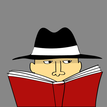 covering eyes: A suspicious looking man in a black hat watches from behind a red book like a private eye or a spy