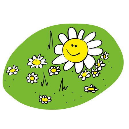 white patches: illustration of a small Daisy Meadow with a smile on the face of the largest daisy Illustration