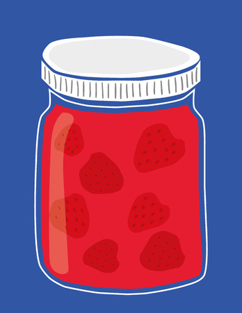 wholesome: illustration of a glass jar of homemade strawberry jam with whole strawberries inside Illustration