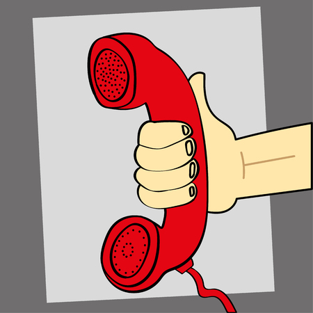 earpiece: illustration of a hand holding out a retro style red telephone for someone to listen and take the call Illustration