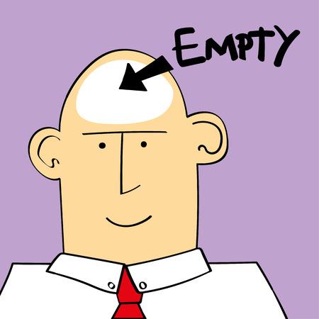 illustration de l'homme aa ou garçon avec le mot vide et une flèche pointant vers la tête