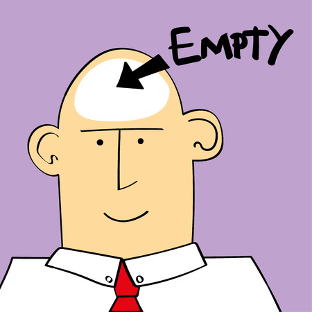 illustration of a a man or boy with the word empty and an arrow pointing to his head