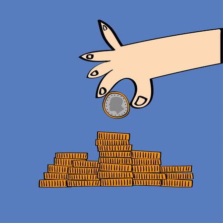 Estilizada mano de una moneda y agregarlo a una pila de monedas como un concepto para el ahorro y la inversión Ilustración de vector