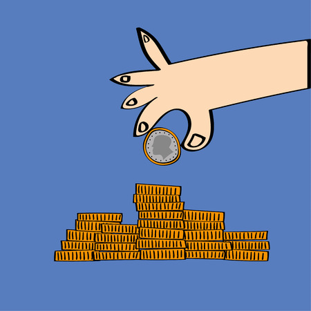 adding: Stylized hand holding a coin and adding it to a pile of coins as a concept for savings and investment