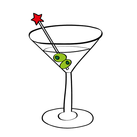 shaken: illustration of a vodka martini in a cocktail glass with olives and a swizzle stick