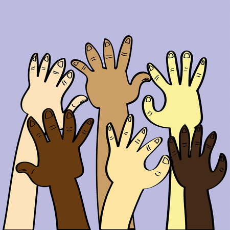skin color: Hands and arms in various skin colors raised as if asking for help or attention and as an example of diversity