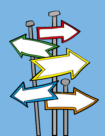 signposts: Arrow signposts or street signs pointing in different directions with copy space for your text Illustration