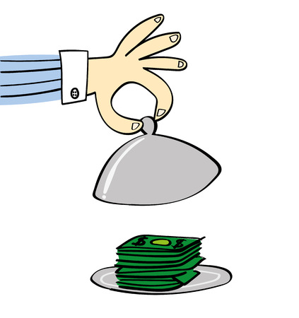 warmer: A hand lifts the dome lid of a silver food warmer to reveal a pile of cash on the plate beneath
