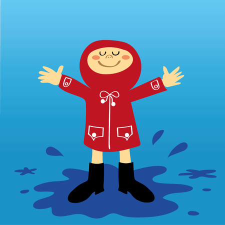 puddles: A small boy or girl in a red raincoat having fun splashing in the puddles after a shower of rain