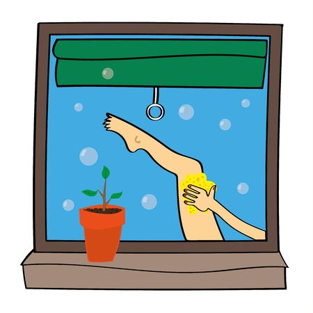 clean bathroom: View through a bathroom window of a womans leg as she applies a sponge to clean herself with bubbles floating into the air