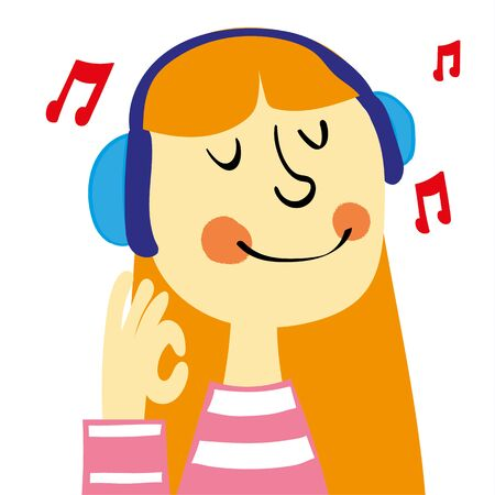 ginger hair: A young girl with ginger hair smiling and listening to music on a pair of headphones gives an okay sign with her hand