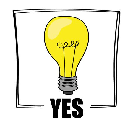 affirmative: A bright yellow light bulb above the word YES as a concept for ideas and creativity