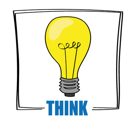 affirmative: A bright yellow light bulb above the word THINK as a concept for ideas and creativity