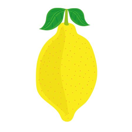 zest: Stylized illustration of a single yellow lemon with green leaves on a white background Illustration