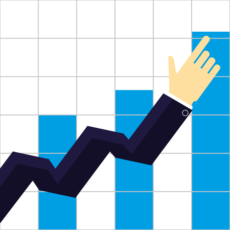 expansion: Arm and hand of a businessman pointing the way to increasing growth of sales or profits on a bar chart
