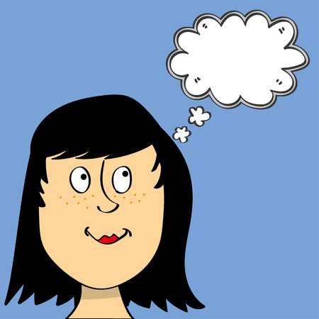 woman looking up: Young girl or woman with a happy face looking up at an empty think bubble just above her head