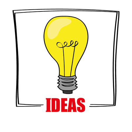 affirmative: A bright yellow light bulb above the word IDEAS as a concept for imagination and creativity