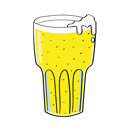 foaming: illustration of a tall glass of lager beer or cider with bubbles and a foaming head on a white background Illustration