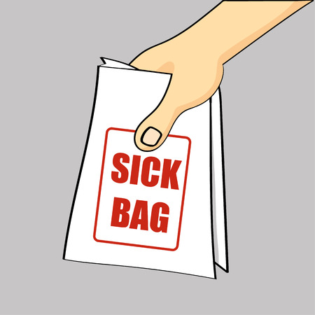 hand holding: Hand holding out or passing over a sick bag for a case of nausea or air sickness