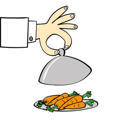frugal: Hand of a chef lifting the lid on a silver food serving dish to reveal a pile of carrots as part of your healthy diet Illustration