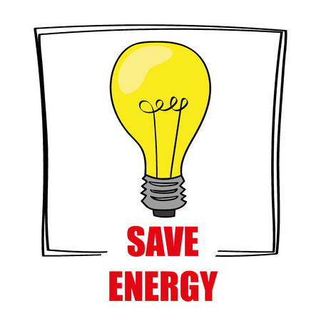 save as: Retro style light bulb is glowing yellow above the words Save Energy as a reminder to reduce your costs for utilities Illustration
