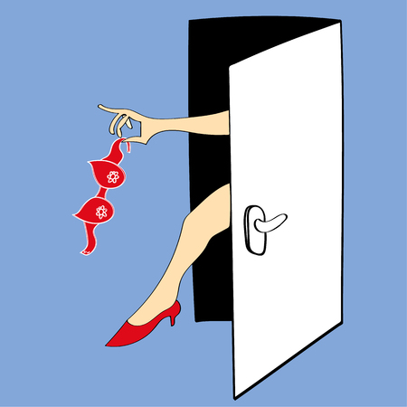 striptease: illustration of an open door through which a womans arm appears and is waving the bra she has just removed. We also see her leg and red high heels. Illustration