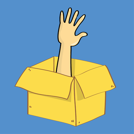 reaches: A hand reaches out of a cardboard box as if someone is trapped inside. A metaphor for escape or thinking outside th box Illustration