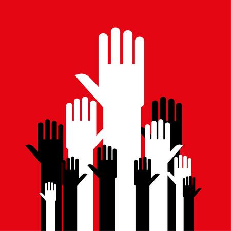 manos abiertas: manos abiertas estilizados en blanco y negro hasta llegar juntos como un grupo o multitud contra un fondo rojo
