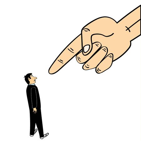 disciplinary action: A giant hand in the sky points a finger down at a man wearing a business suit Illustration