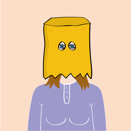 brown paper bag: Head and shoulders of a young girl or woman with a brown paper bag over head and holes cut out for her eyes