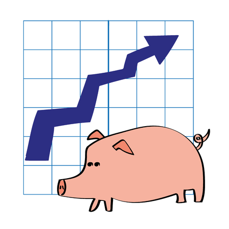 metrics: A pig in front of a chart with an arrow pointing upwards as a metaphor for growth in savings or investments