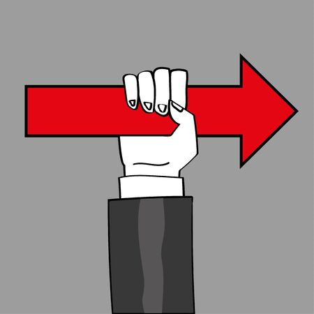 the way forward: Hand and arm in a business suit holding a red arrow up to point you in the right direction Illustration