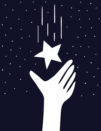 reaches: A stylized hand reaches up to catch a falling star in a the night sky full of stars